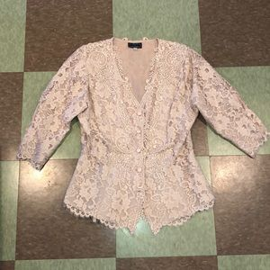 Vtg 90s lace nude dress formal top xs sm